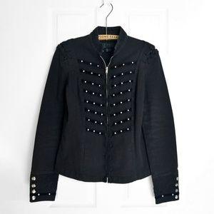 Tripp NYC Black Denim Velvet Snap Button Jacket